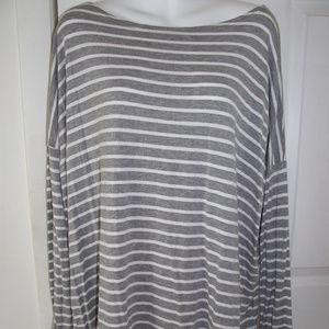 Women's PIKO 1988 Gray Striped Loose Fit Shirt M